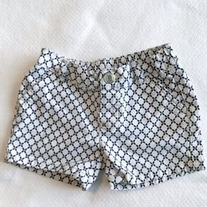 Carter's | 2T White with Blue Lattice Print Shorts